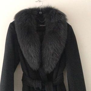 Ellen Tracy Jackets & Coats - Ellen Tracy Woolen Grey Coat with Real Fur M L